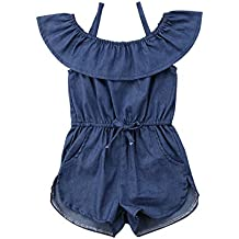 7aee78c00f36 AUD 27. Toddler Little Girl Demin Off Shoulder Ruffle Pocket Romper Jumpsuit  Clothes Set