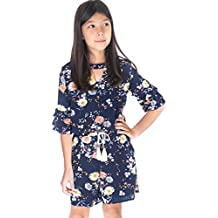 a42bdb93b708 Big Girls Floral Printed Tier Ruffle Sleeves Romper (Many Options) with  Pockets