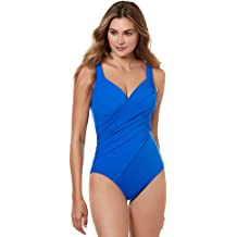 099d814a09 Miraclesuit Women's Swimwear Rock Solid Revele Tummy Control V-Neckline  Underwire