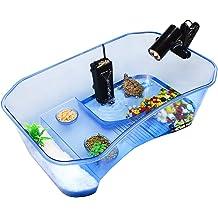 c962ba3a8bd ZeHui Reptile Turtle Tortoise Vivarium Box Aquarium Tank with Basking Ramp  Blue