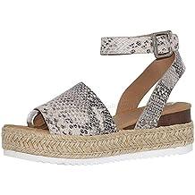 0ed038f95d6 JJLIEKR Women Snake Leopard Wedges Platform Chunky Sandals Espadrille Ankle Buckle  Strap Peep Toe Shoes Summer