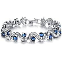 3d0450a6a Feraco Blue Sapphire Bracelet AAA+ Cubic Zirconia Tennis Bracelets Gifts  for Women Bridal