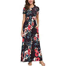0fa427958e Zattcas Womens Summer Casual Short Sleeve Long Floral Maxi Dress with  Pockets