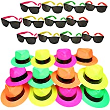20b38ba48b5fbf Funny Party Hats Neon Party Supplies - Fedora Party Hats with Party  Sunglasses - Gangster Party
